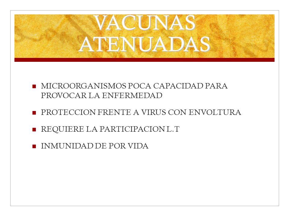 VACUNAS ATENUADAS MICROORGANISMOS POCA CAPACIDAD PARA PROVOCAR LA ENFERMEDAD PROTECCION FRENTE A VIRUS CON ENVOLTURA REQUIERE LA PARTICIPACION L.T INM