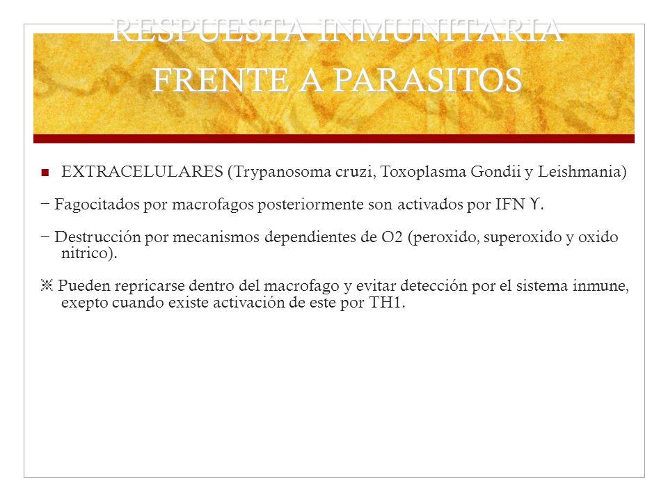 RESPUESTA INMUNITARIA FRENTE A PARASITOS EXTRACELULARES (Trypanosoma cruzi, Toxoplasma Gondii y Leishmania) Fagocitados por macrofagos posteriormente