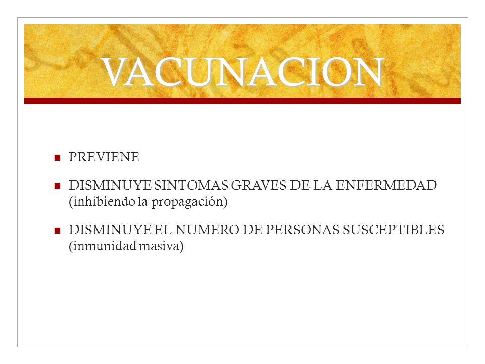 VACUNACION PREVIENE DISMINUYE SINTOMAS GRAVES DE LA ENFERMEDAD (inhibiendo la propagación) DISMINUYE EL NUMERO DE PERSONAS SUSCEPTIBLES (inmunidad mas
