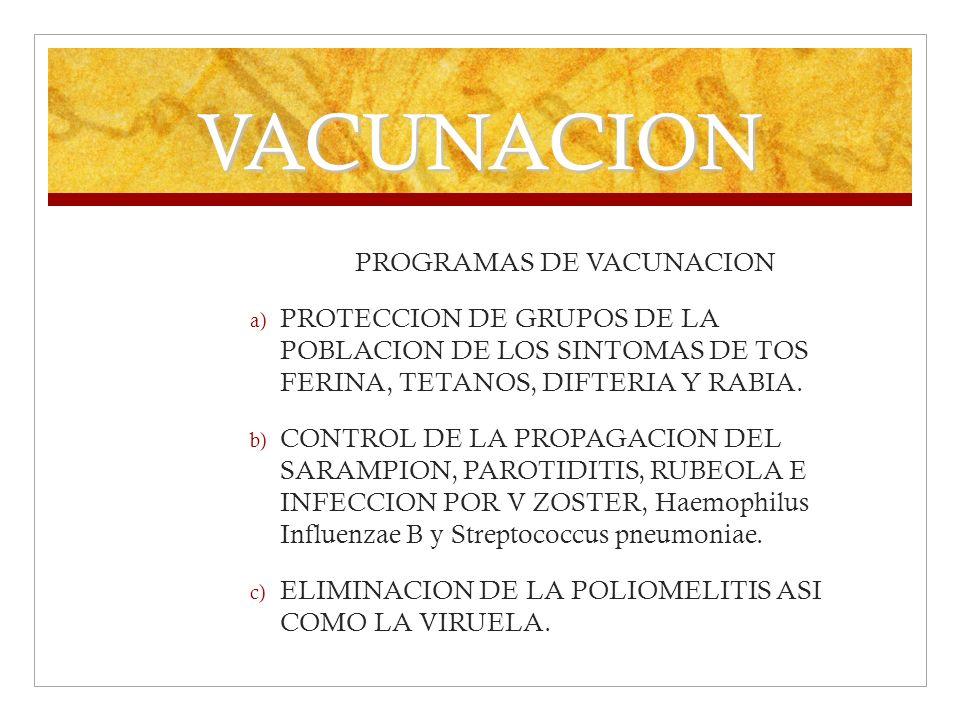 VACUNACION PROGRAMAS DE VACUNACION a) PROTECCION DE GRUPOS DE LA POBLACION DE LOS SINTOMAS DE TOS FERINA, TETANOS, DIFTERIA Y RABIA. b) CONTROL DE LA