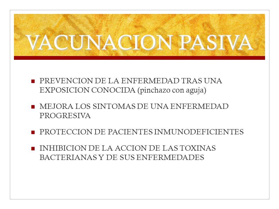 VACUNACION PASIVA PREVENCION DE LA ENFERMEDAD TRAS UNA EXPOSICION CONOCIDA (pinchazo con aguja) MEJORA LOS SINTOMAS DE UNA ENFERMEDAD PROGRESIVA PROTE