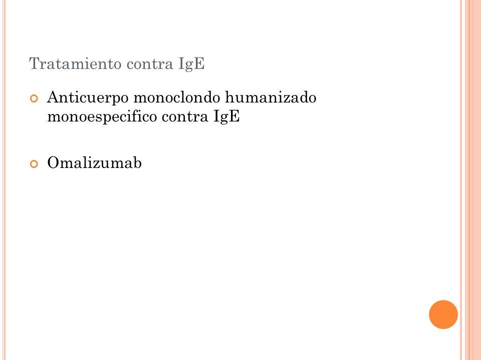 Tratamiento contra IgE Anticuerpo monoclondo humanizado monoespecifico contra IgE Omalizumab