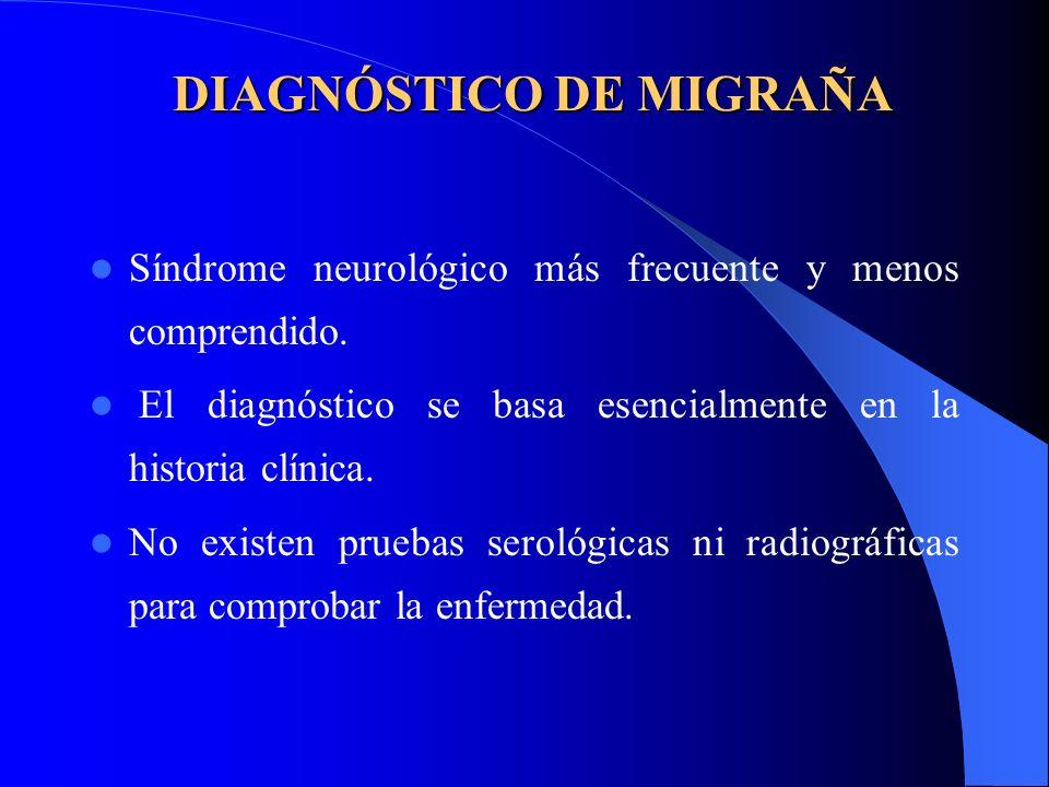 DIAGNÓSTICO DE MIGRAÑA Síndrome neurológico más frecuente y menos comprendido. El diagnóstico se basa esencialmente en la historia clínica. No existen