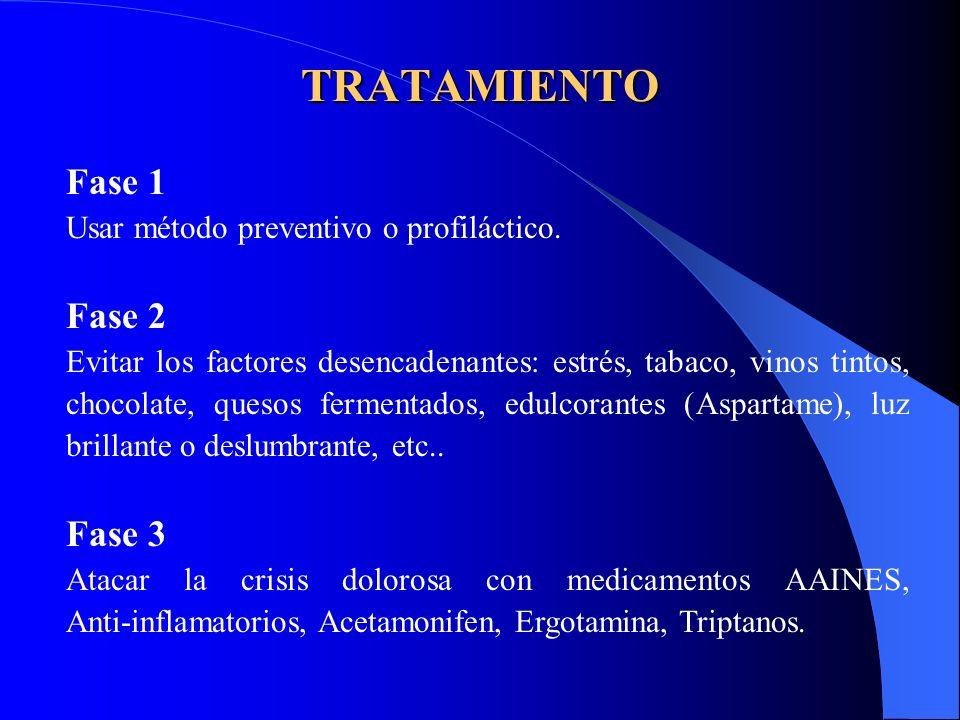TRATAMIENTO Fase 1 Usar método preventivo o profiláctico. Fase 2 Evitar los factores desencadenantes: estrés, tabaco, vinos tintos, chocolate, quesos