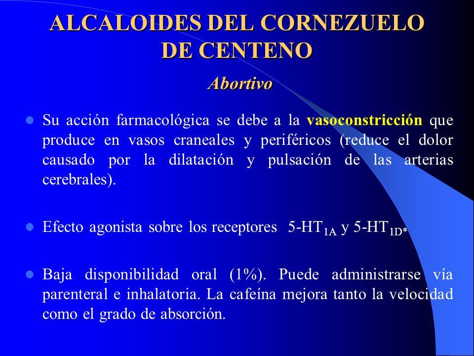 ALCALOIDES DEL CORNEZUELO DE CENTENO Abortivo Su acción farmacológica se debe a la vasoconstricción que produce en vasos craneales y periféricos (reduce el dolor causado por la dilatación y pulsación de las arterias cerebrales).