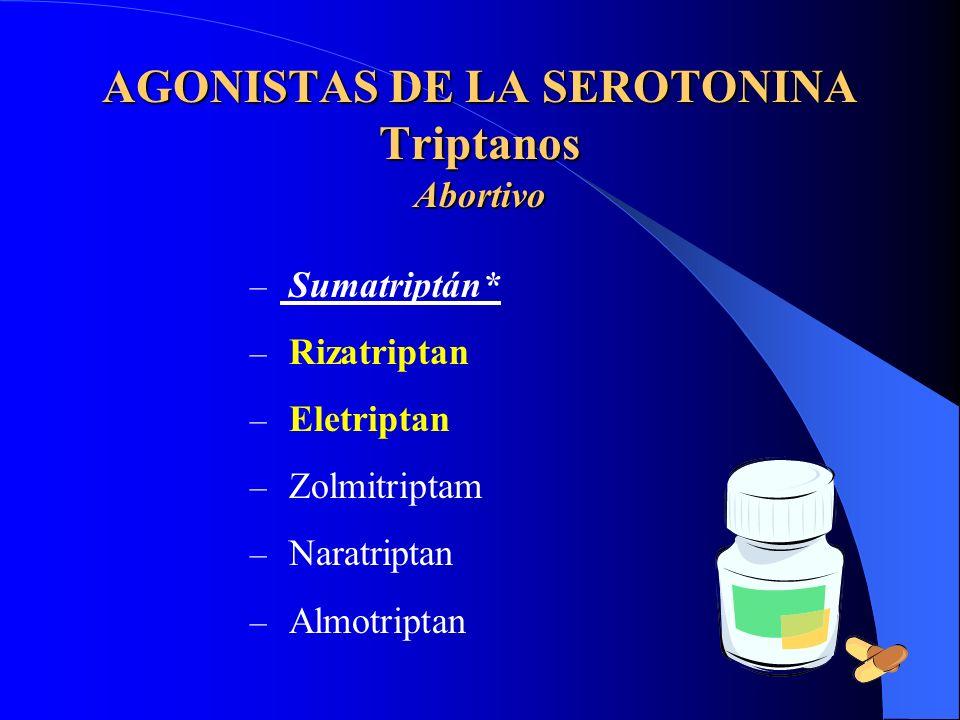 AGONISTAS DE LA SEROTONINA Triptanos Abortivo – Sumatriptán* – Rizatriptan – Eletriptan – Zolmitriptam – Naratriptan – Almotriptan