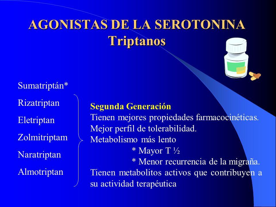 AGONISTAS DE LA SEROTONINA Triptanos Sumatriptán* Rizatriptan Eletriptan Zolmitriptam Naratriptan Almotriptan Segunda Generación Tienen mejores propiedades farmacocinéticas.