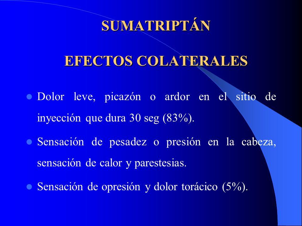 SUMATRIPTÁN EFECTOS COLATERALES Dolor leve, picazón o ardor en el sitio de inyección que dura 30 seg (83%). Sensación de pesadez o presión en la cabez