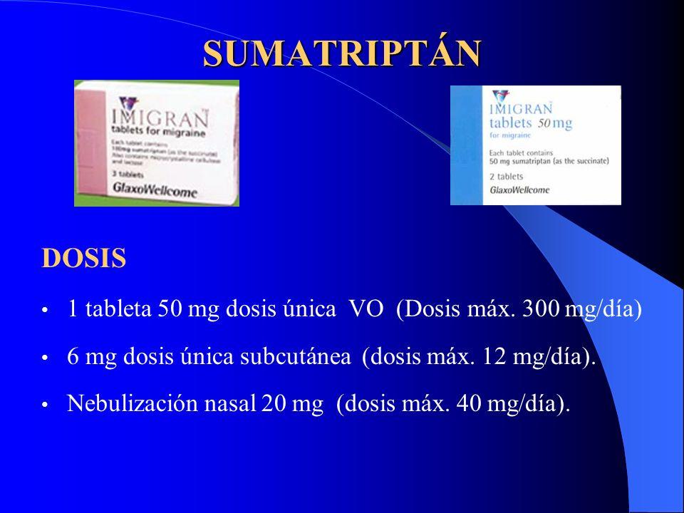 SUMATRIPTÁN DOSIS 1 tableta 50 mg dosis única VO (Dosis máx. 300 mg/día) 6 mg dosis única subcutánea (dosis máx. 12 mg/día). Nebulización nasal 20 mg
