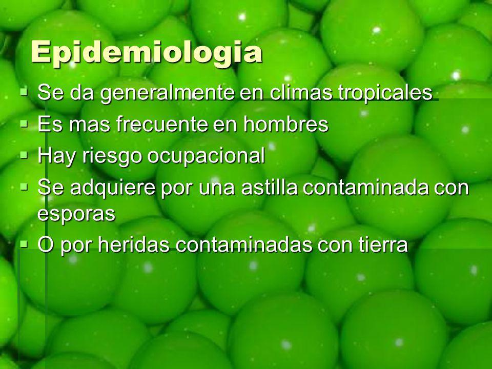 Epidemiologia Se da generalmente en climas tropicales Se da generalmente en climas tropicales Es mas frecuente en hombres Es mas frecuente en hombres