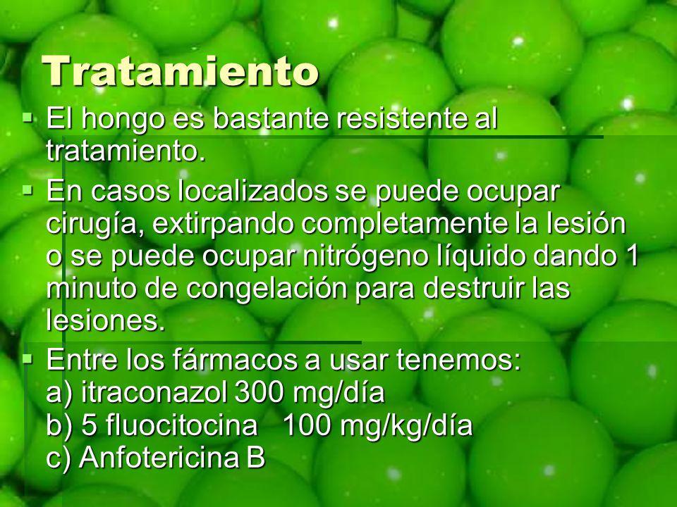 Tratamiento El hongo es bastante resistente al tratamiento. El hongo es bastante resistente al tratamiento. En casos localizados se puede ocupar cirug