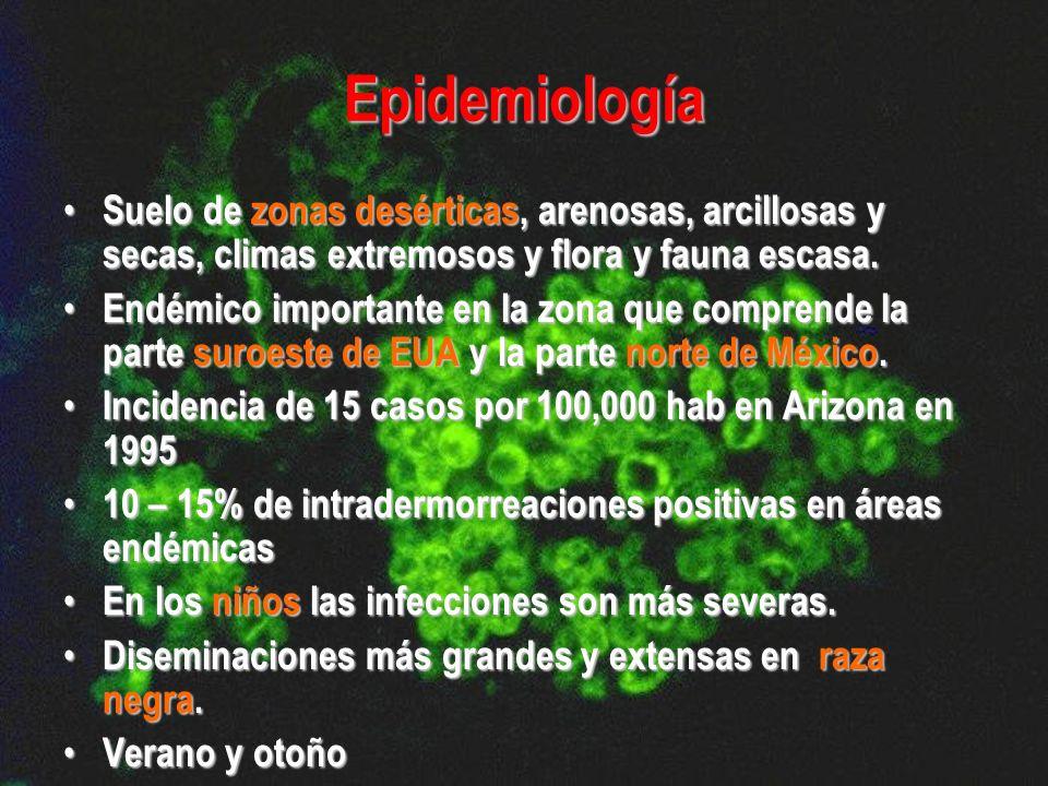 Epidemiología Suelo de zonas desérticas, arenosas, arcillosas y secas, climas extremosos y flora y fauna escasa. Suelo de zonas desérticas, arenosas,
