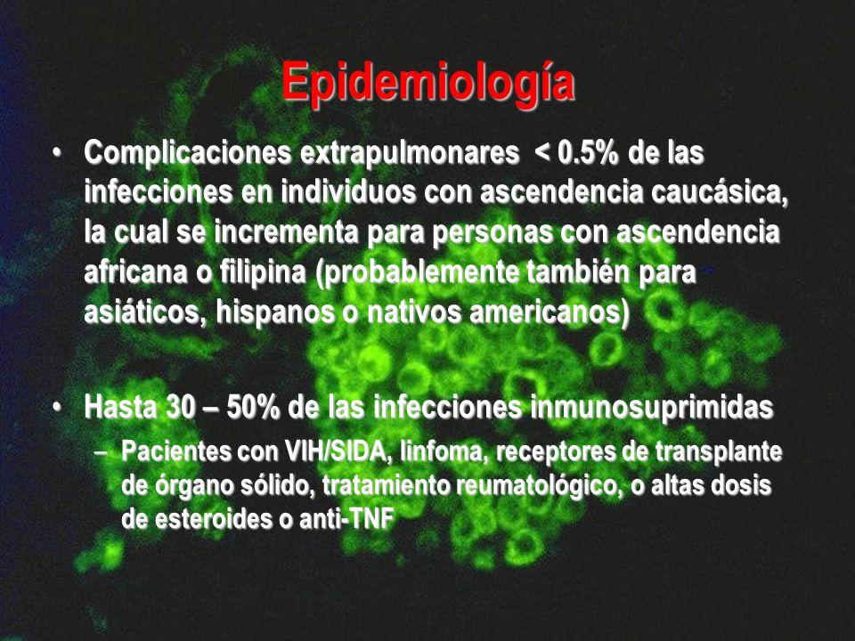 Epidemiología Complicaciones extrapulmonares < 0.5% de las infecciones en individuos con ascendencia caucásica, la cual se incrementa para personas co