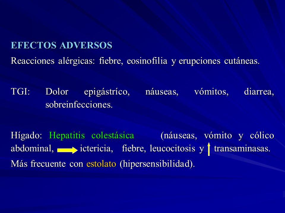 EFECTOS ADVERSOS Reacciones alérgicas: fiebre, eosinofilia y erupciones cutáneas. TGI: Dolor epigástríco, náuseas, vómitos, diarrea, sobreinfecciones.