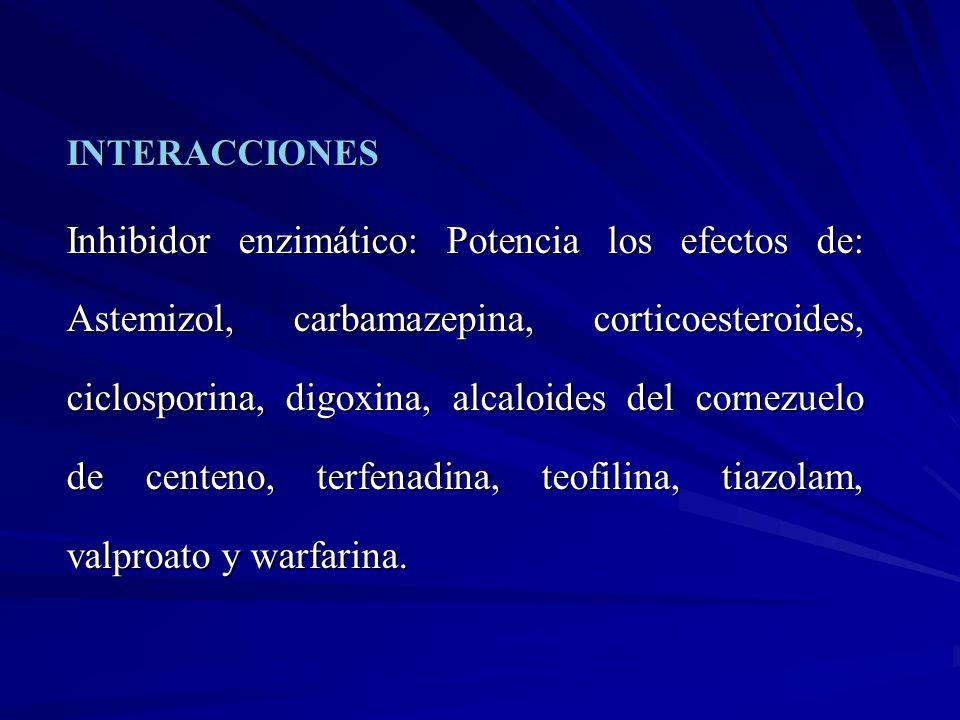 INTERACCIONES Inhibidor enzimático: Potencia los efectos de: Astemizol, carbamazepina, corticoesteroides, ciclosporina, digoxina, alcaloides del corne
