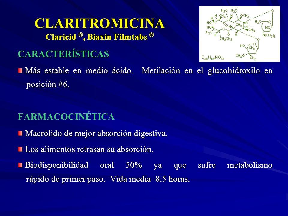 CLARITROMICINA Claricid, Biaxin Filmtabs CLARITROMICINA Claricid ®, Biaxin Filmtabs ® CARACTERÍSTICAS Más estable en medio ácido. Metilación en el glu