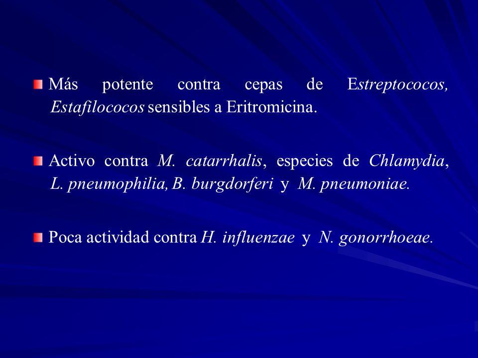 Más potente contra cepas de Estreptococos, Estafilococos sensibles a Eritromicina. Activo contra M. catarrhalis, especies de Chlamydia, L. pneumophili