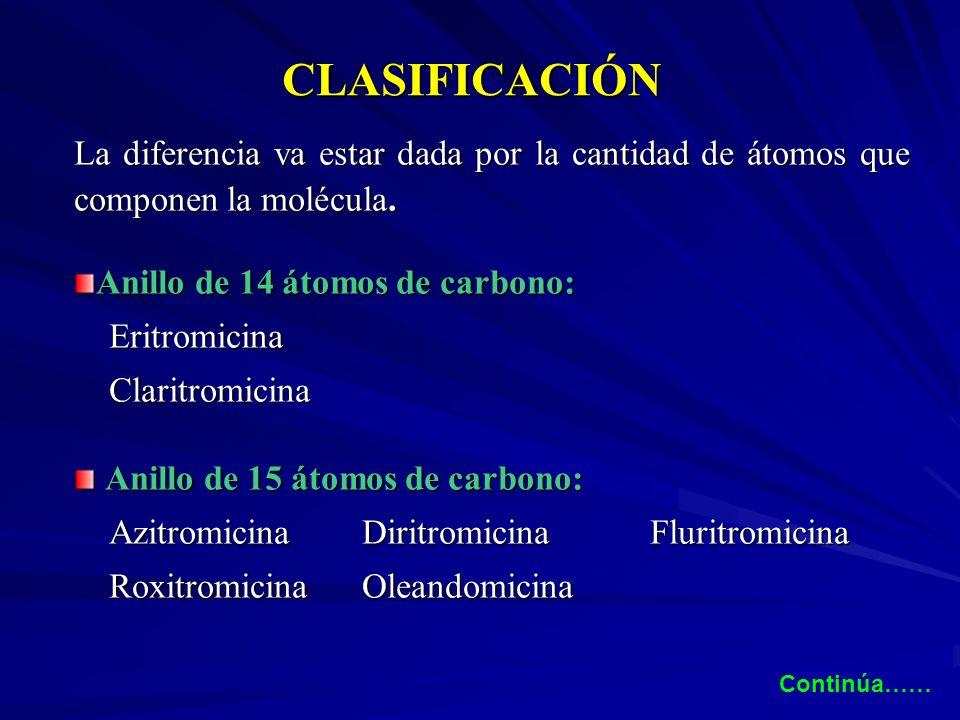 CLASIFICACIÓN La diferencia va estar dada por la cantidad de átomos que componen la molécula. Anillo de 14 átomos de carbono: Eritromicina Eritromicin