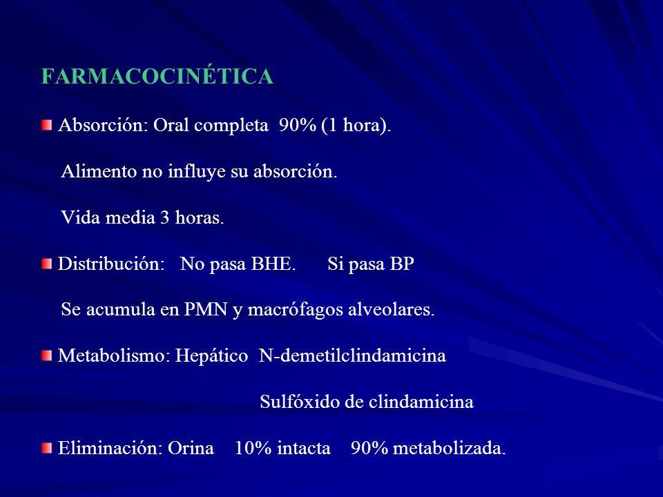 FARMACOCINÉTICA Absorción: Oral completa 90% (1 hora). Alimento no influye su absorción. Vida media 3 horas. Distribución: No pasa BHE. Si pasa BP Se