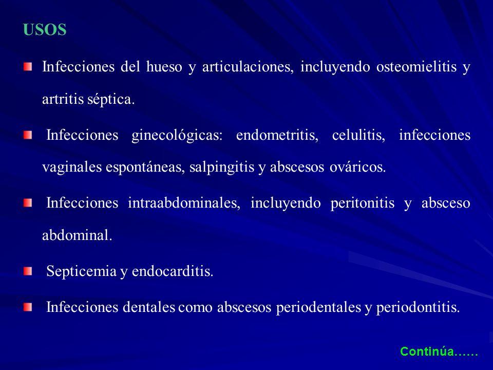 USOS Infecciones del hueso y articulaciones, incluyendo osteomielitis y artritis séptica. Infecciones ginecológicas: endometritis, celulitis, infeccio