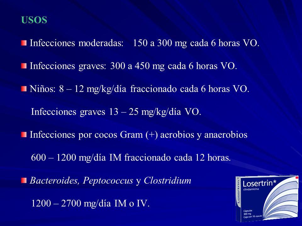 USOS Infecciones moderadas: 150 a 300 mg cada 6 horas VO. Infecciones graves: 300 a 450 mg cada 6 horas VO. Niños: 8 – 12 mg/kg/día fraccionado cada 6