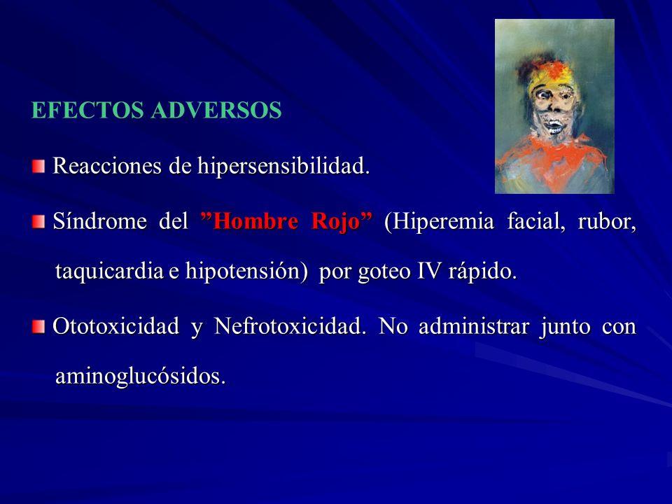 EFECTOS ADVERSOS Reacciones de hipersensibilidad. Síndrome del Hombre Rojo (Hiperemia facial, rubor, taquicardia e hipotensión) por goteo IV rápido. S