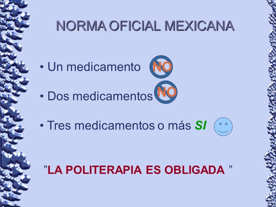NORMA OFICIAL MEXICANA Un medicamento Dos medicamentos Tres medicamentos o más SI LA POLITERAPIA ES OBLIGADA NO