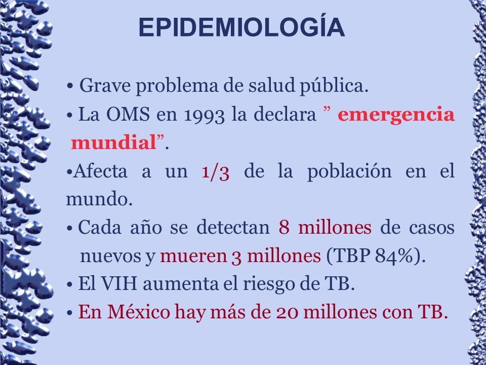 Grave problema de salud pública. La OMS en 1993 la declara emergencia mundial. Afecta a un 1/3 de la población en el mundo. Cada año se detectan 8 mil