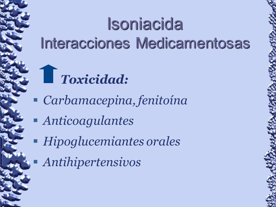 Isoniacida Interacciones Medicamentosas Toxicidad: Carbamacepina, fenitoína Anticoagulantes Hipoglucemiantes orales Antihipertensivos