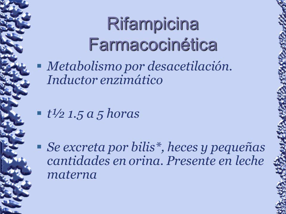 Rifampicina Farmacocinética Metabolismo por desacetilación. Inductor enzimático t½ 1.5 a 5 horas Se excreta por bilis*, heces y pequeñas cantidades en