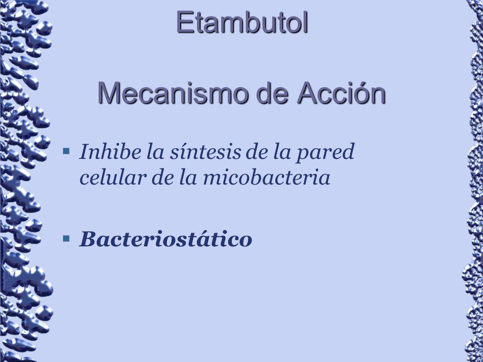 Etambutol Mecanismo de Acción Inhibe la síntesis de la pared celular de la micobacteria Bacteriostático