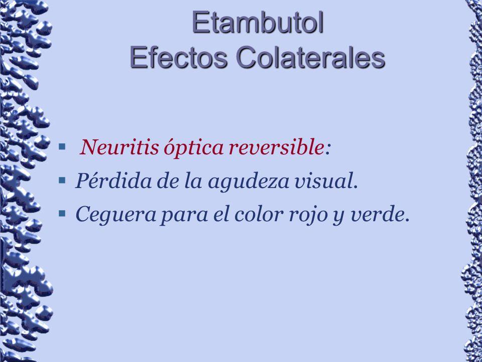 Etambutol Efectos Colaterales Neuritis óptica reversible: Pérdida de la agudeza visual. Ceguera para el color rojo y verde.