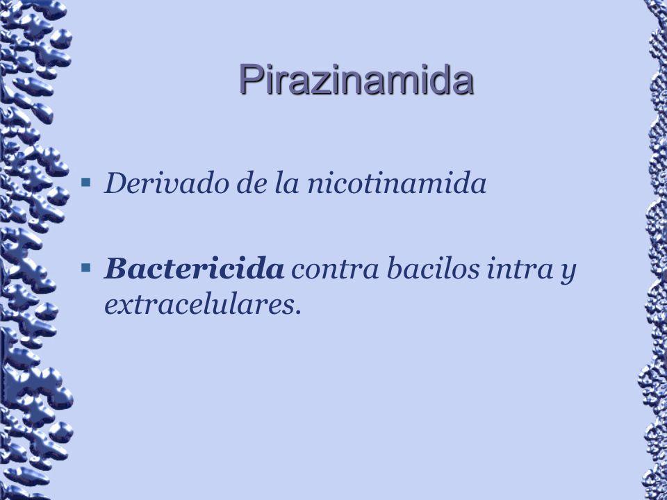 Pirazinamida Derivado de la nicotinamida Bactericida contra bacilos intra y extracelulares.