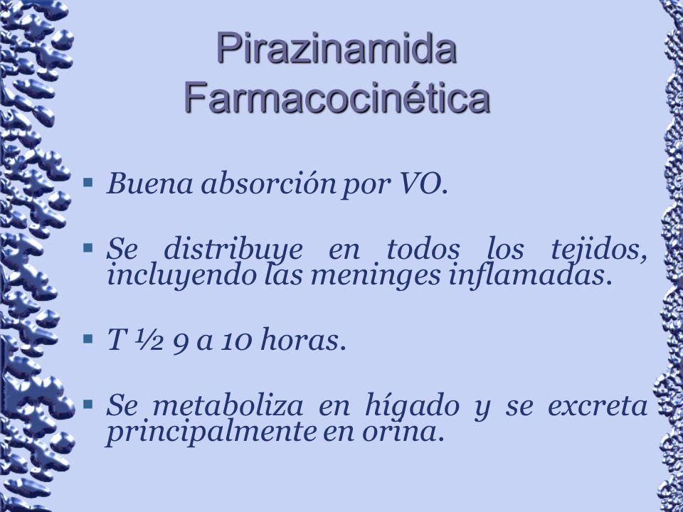 Pirazinamida Farmacocinética Buena absorción por VO. Se distribuye en todos los tejidos, incluyendo las meninges inflamadas. T ½ 9 a 10 horas. Se meta