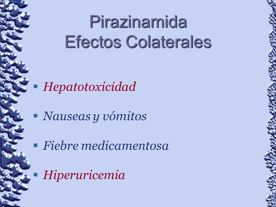 Pirazinamida Efectos Colaterales Hepatotoxicidad Nauseas y vómitos Fiebre medicamentosa Hiperuricemia