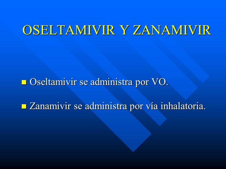 OSELTAMIVIR Y ZANAMIVIR Oseltamivir se administra por VO. Oseltamivir se administra por VO. Zanamivir se administra por vía inhalatoria. Zanamivir se