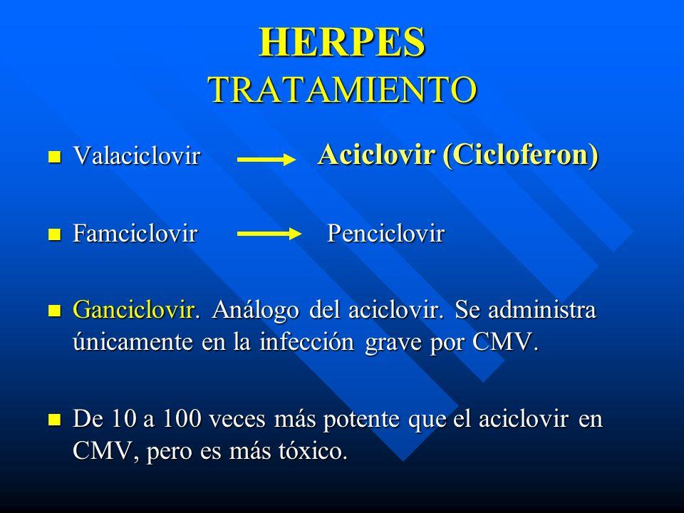 Valaciclovir Aciclovir (Cicloferon) Valaciclovir Aciclovir (Cicloferon) Famciclovir Penciclovir Famciclovir Penciclovir Ganciclovir. Análogo del acicl