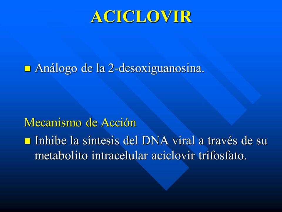ACICLOVIR Análogo de la 2-desoxiguanosina. Análogo de la 2-desoxiguanosina. Mecanismo de Acción Inhibe la síntesis del DNA viral a través de su metabo