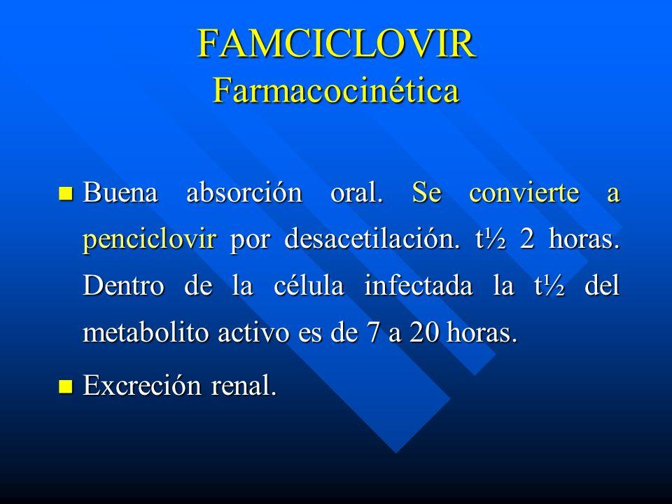 FAMCICLOVIR Farmacocinética Buena absorción oral. Se convierte a penciclovir por desacetilación. t½ 2 horas. Dentro de la célula infectada la t½ del m