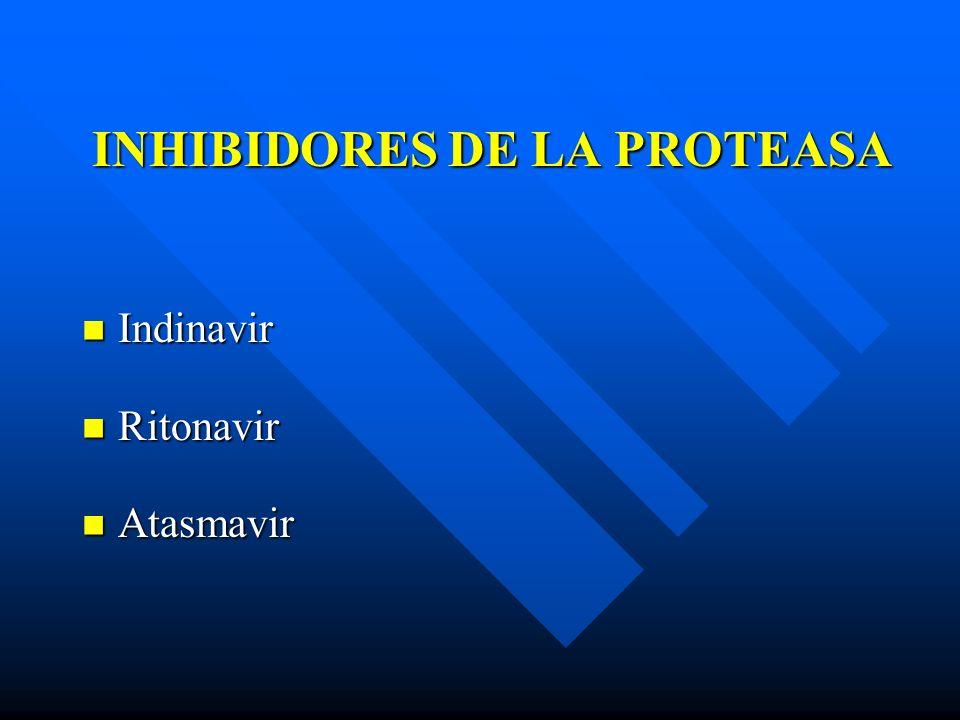 INHIBIDORES DE LA PROTEASA Indinavir Indinavir Ritonavir Ritonavir Atasmavir Atasmavir