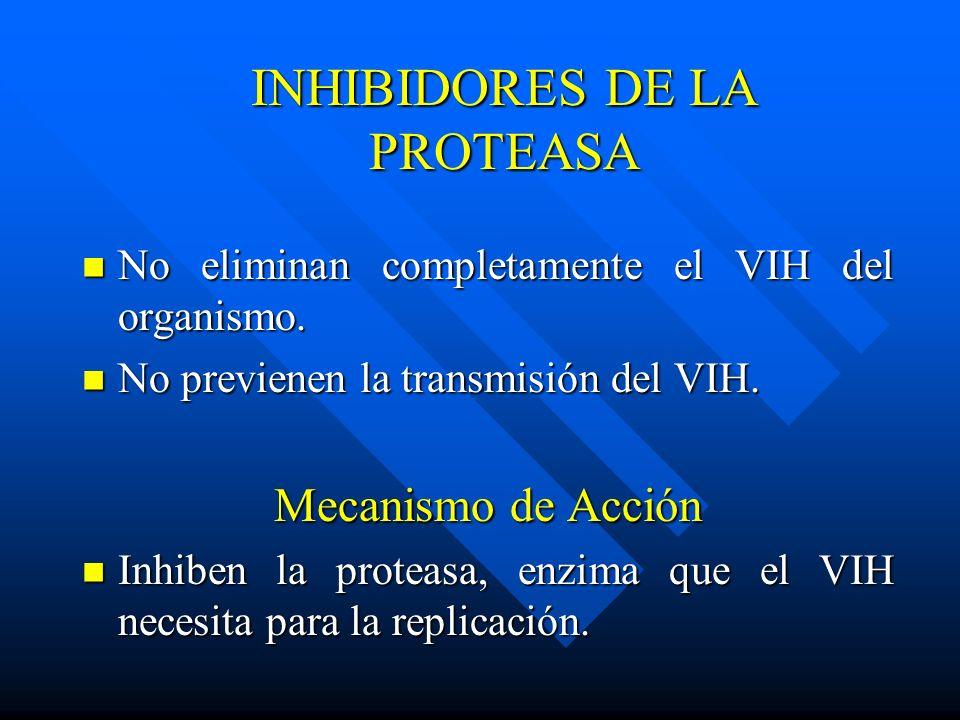 INHIBIDORES DE LA PROTEASA No eliminan completamente el VIH del organismo. No eliminan completamente el VIH del organismo. No previenen la transmisión