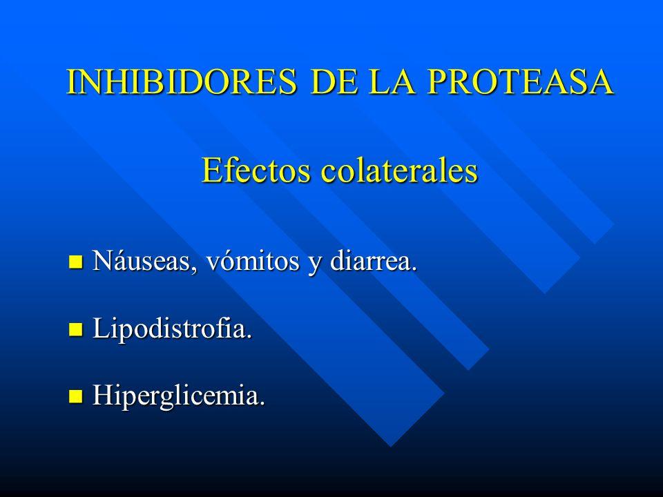 INHIBIDORES DE LA PROTEASA Efectos colaterales Náuseas, vómitos y diarrea. Náuseas, vómitos y diarrea. Lipodistrofia. Lipodistrofia. Hiperglicemia. Hi