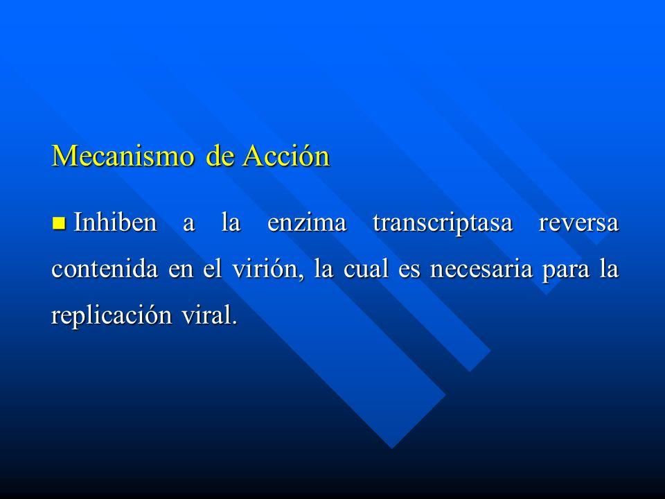 Mecanismo de Acción Inhiben a la enzima transcriptasa reversa contenida en el virión, la cual es necesaria para la replicación viral. Inhiben a la enz