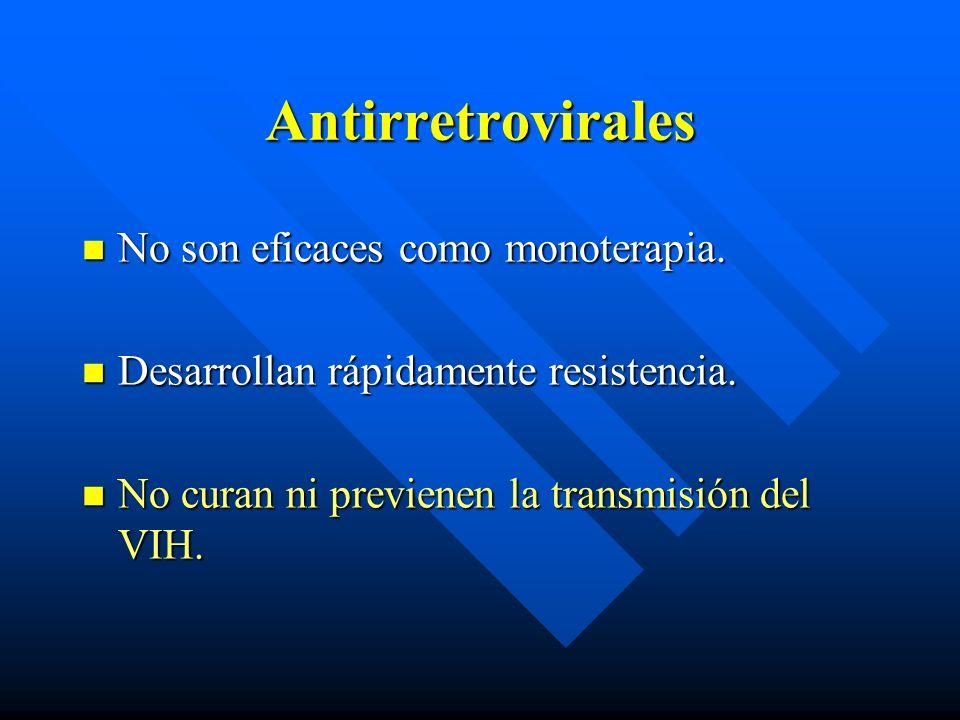 Antirretrovirales No son eficaces como monoterapia. No son eficaces como monoterapia. Desarrollan rápidamente resistencia. Desarrollan rápidamente res