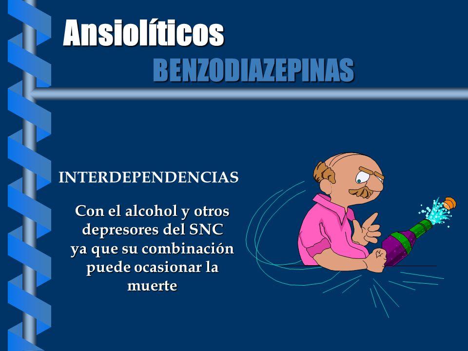 INTERDEPENDENCIAS Con el alcohol y otros depresores del SNC ya que su combinación puede ocasionar la muerte Ansiolíticos BENZODIAZEPINAS
