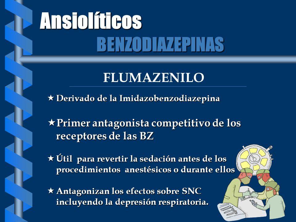 FLUMAZENILO Derivado de la Imidazobenzodiazepina Derivado de la Imidazobenzodiazepina Primer antagonista competitivo de los receptores de las BZ Prime