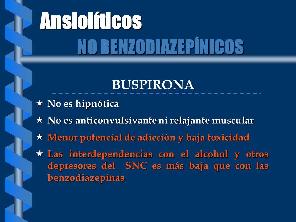 BUSPIRONA No es hipnótica No es hipnótica No es anticonvulsivante ni relajante muscular No es anticonvulsivante ni relajante muscular Menor potencial