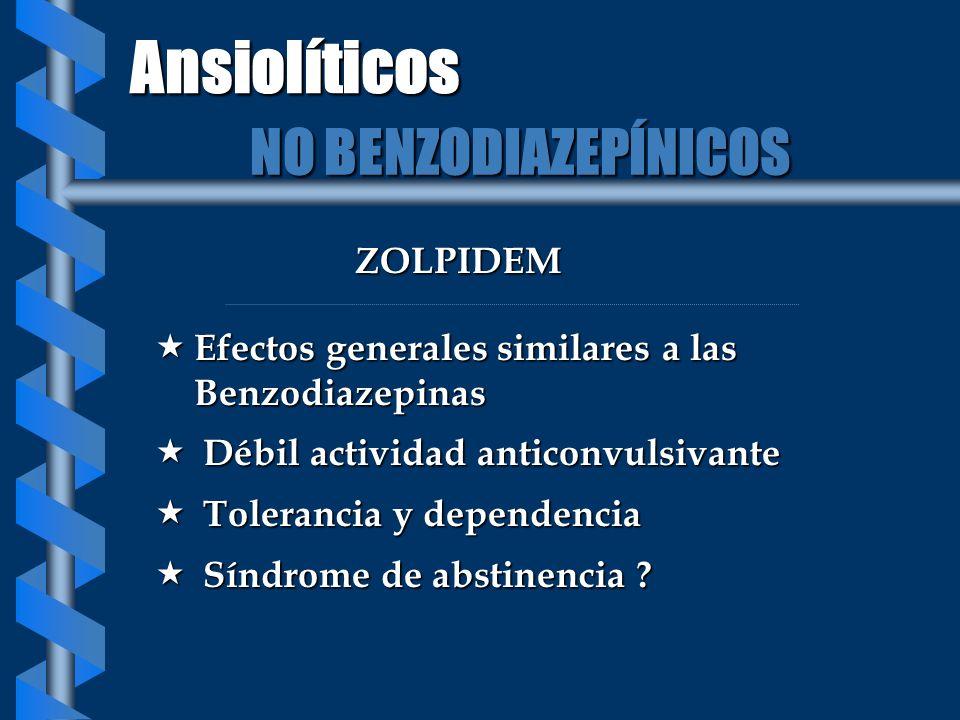 ZOLPIDEM Efectos generales similares a las Benzodiazepinas Efectos generales similares a las Benzodiazepinas Débil actividad anticonvulsivante Débil a