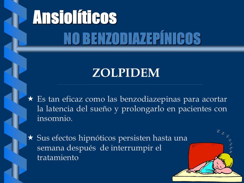 ZOLPIDEM Es tan eficaz como las benzodiazepinas para acortar la latencia del sueño y prolongarlo en pacientes con insomnio. Sus efectos hipnóticos per