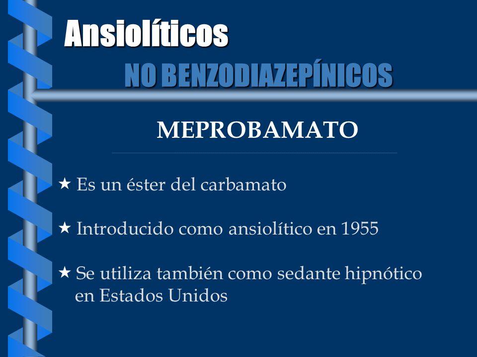 MEPROBAMATO Es un éster del carbamato Introducido como ansiolítico en 1955 Se utiliza también como sedante hipnótico en Estados Unidos Ansiolíticos NO